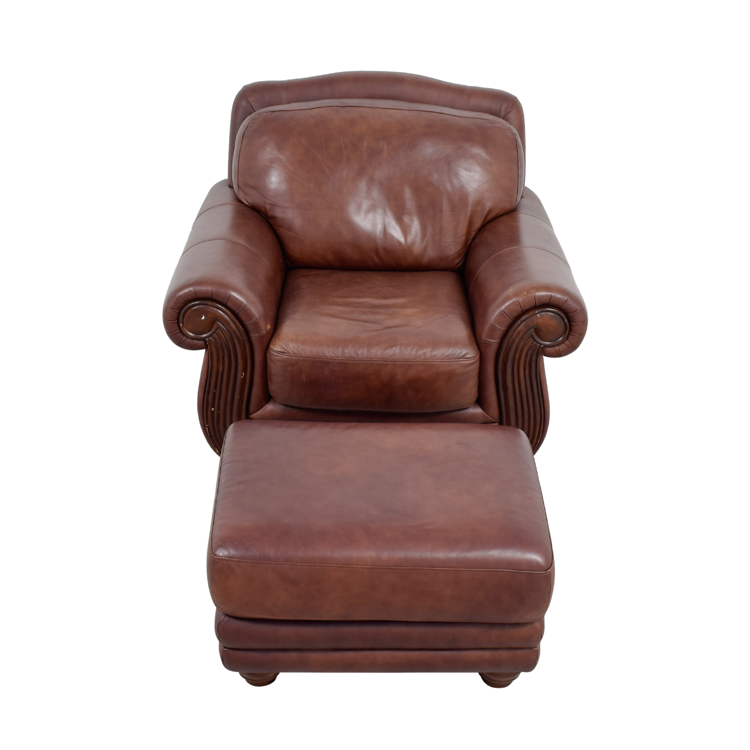 54 off rooms to go rooms to go brown leather chair and ottoman chairs. Black Bedroom Furniture Sets. Home Design Ideas