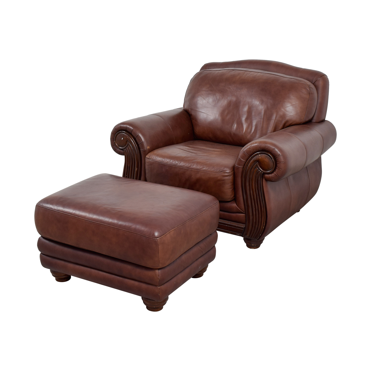 5% OFF - Rooms To Go Rooms To Go Brown Leather Chair and Ottoman / Chairs