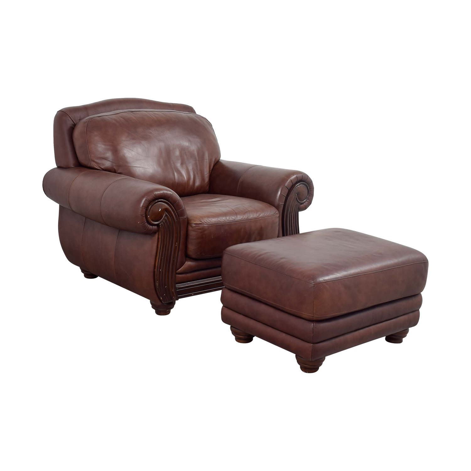 Amazing ... Shop Rooms To Go Brown Leather Chair And Ottoman Rooms To Go ...
