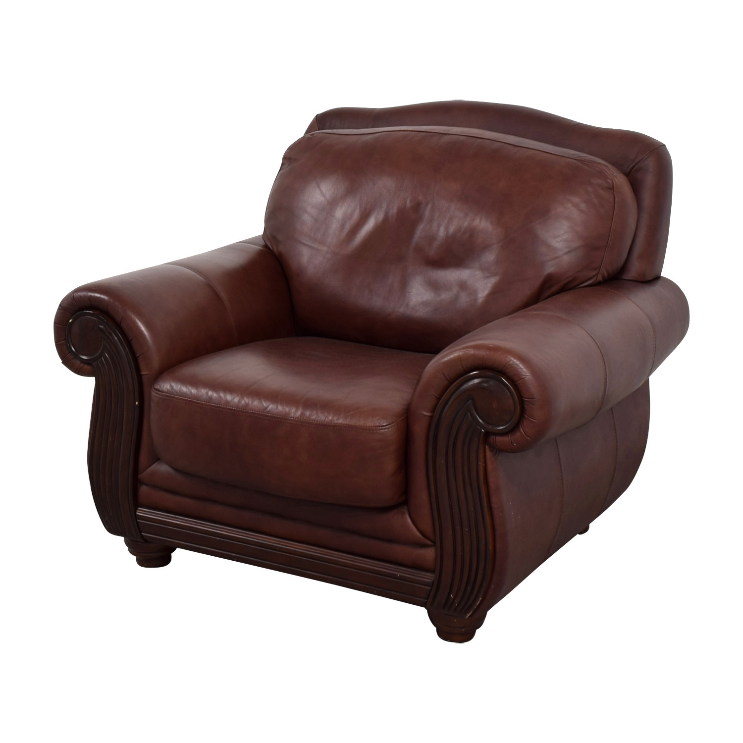 69 off rooms to go rooms to go brown leather accent chair chairs. Black Bedroom Furniture Sets. Home Design Ideas