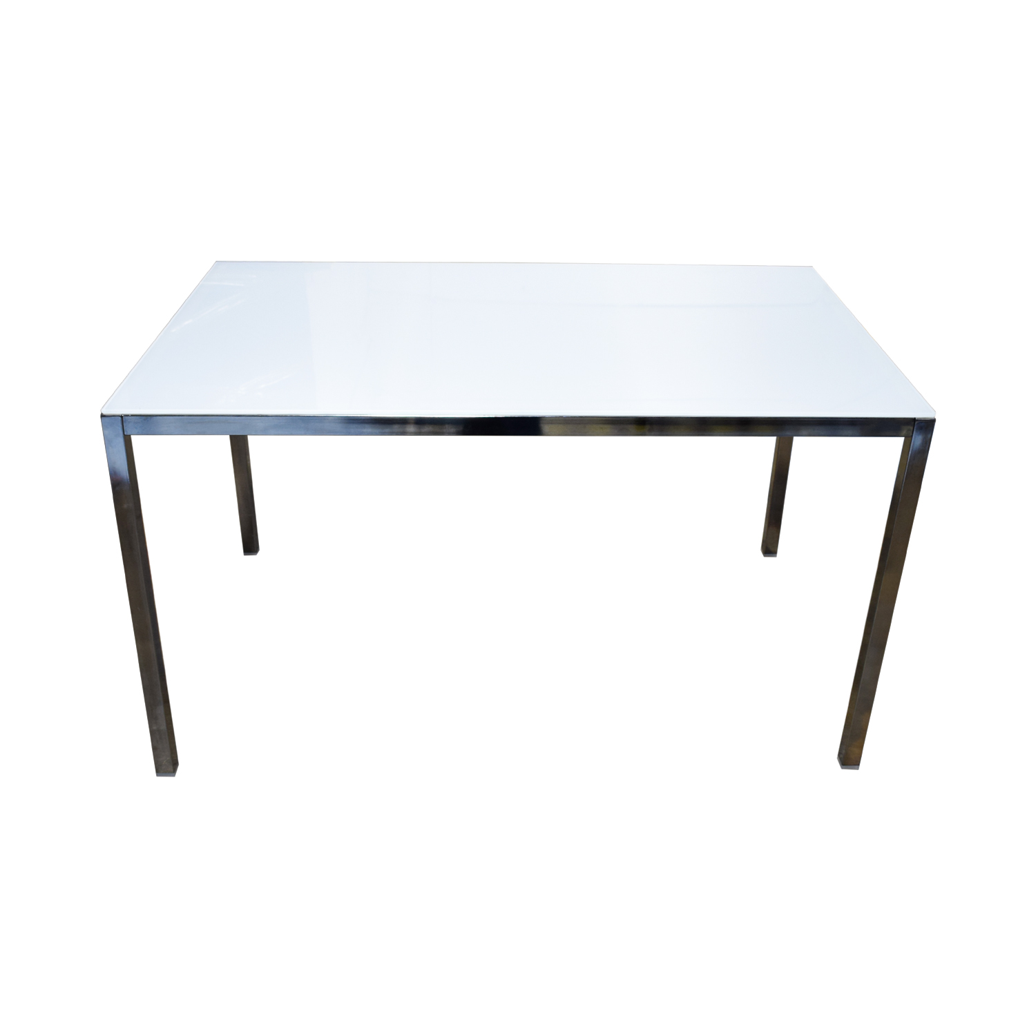 IKEA IKEA White Top and Chrome Base Dining Table for sale