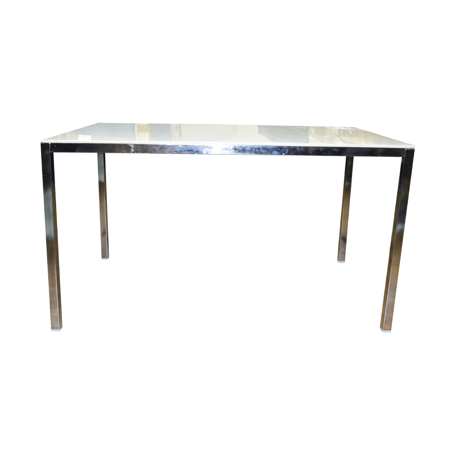 buy IKEA White Top and Chrome Base Dining Table IKEA Dinner Tables