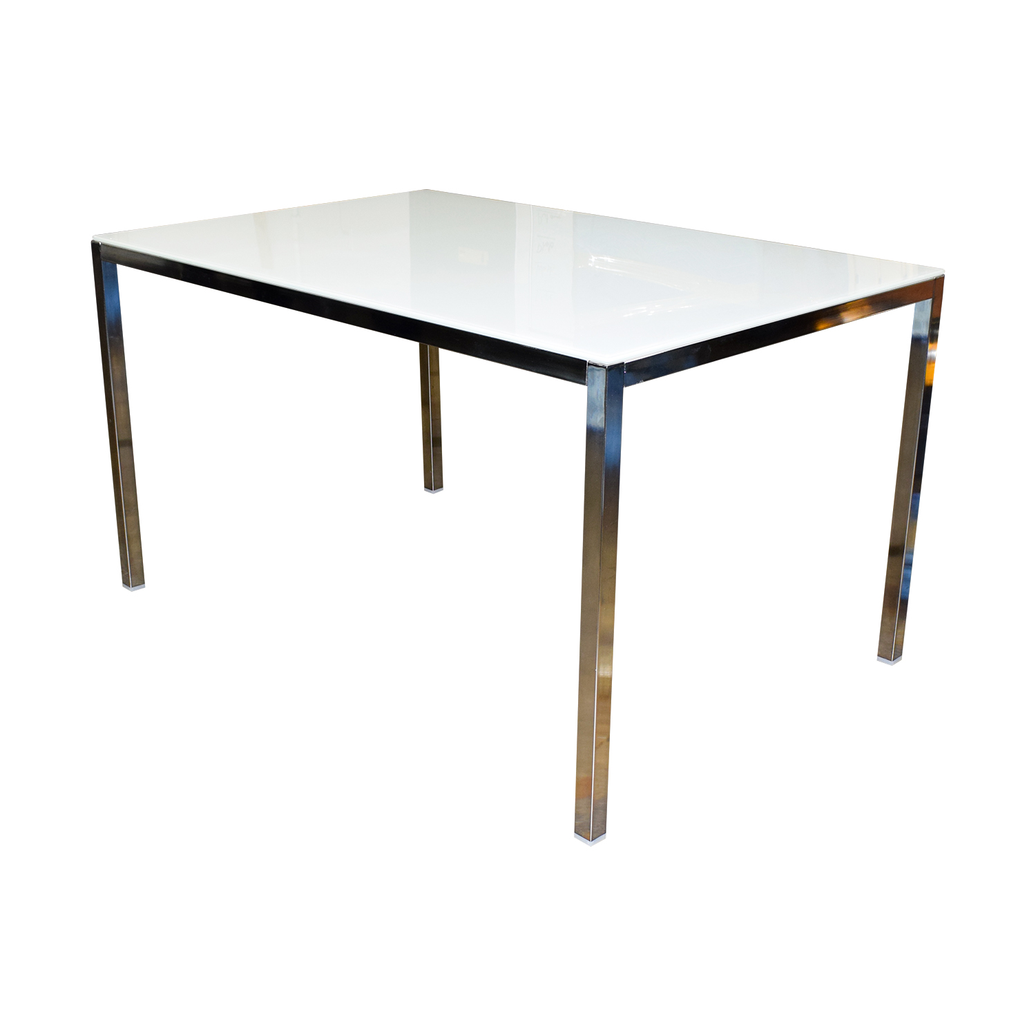 IKEA IKEA White Top And Chrome Base Dining Table