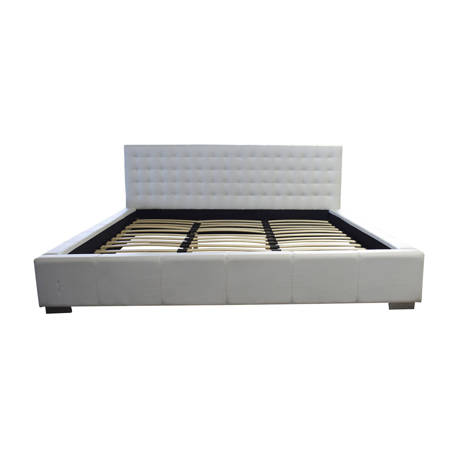 Madison Tufted White Leather King Bed Frame / Beds