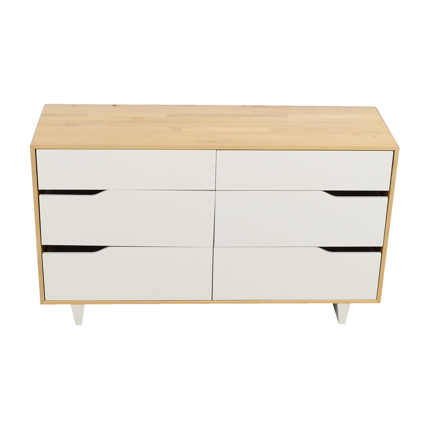 shop IKEA Askvoll White and Wood Six-Drawer Dresser IKEA Storage