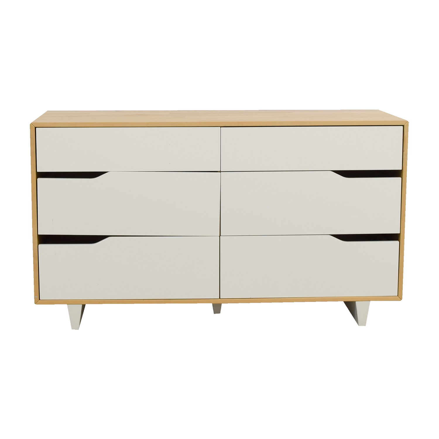 Ikea Askvoll White And Wood Six Drawer Dresser