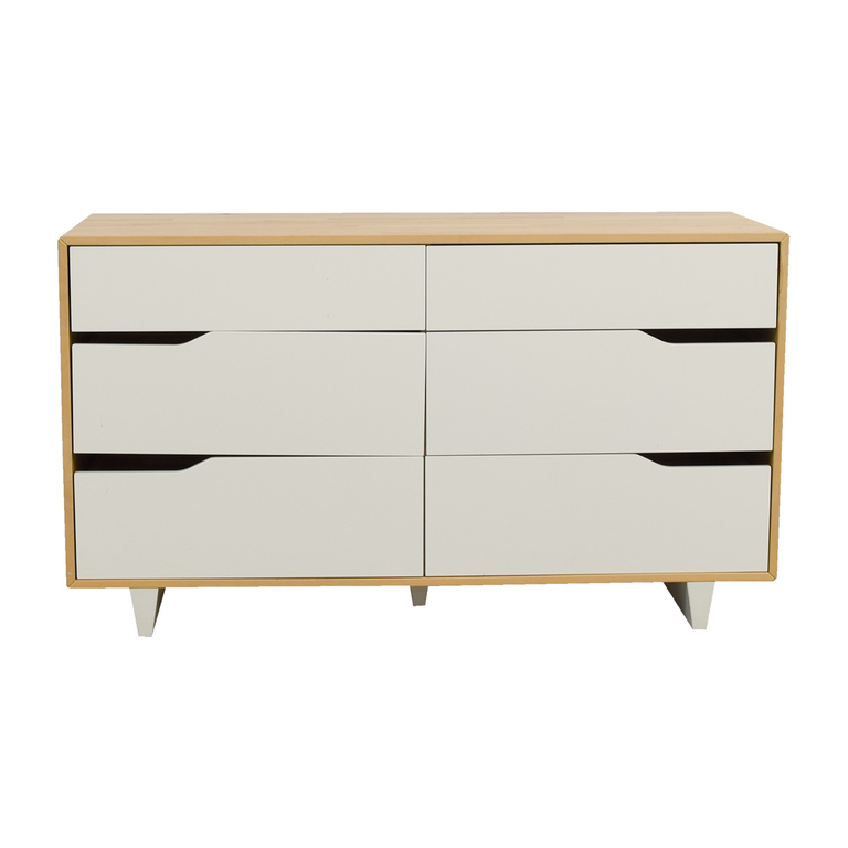 IKEA Askvoll White and Wood Six-Drawer Dresser sale