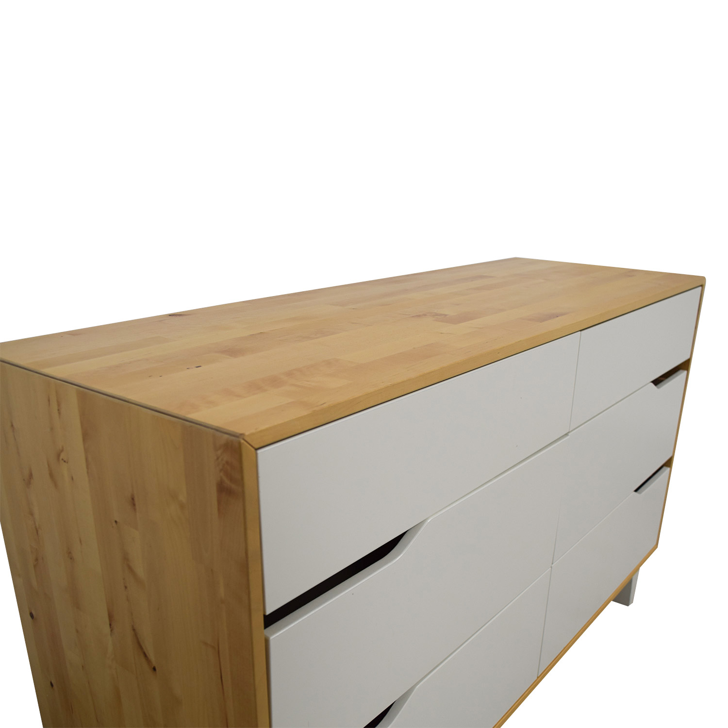 IKEA IKEA Askvoll White And Wood Six-Drawer