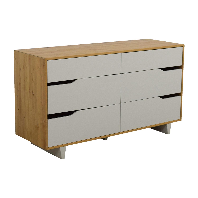 46 Off Ikea Ikea Askvoll White And Wood Six Drawer