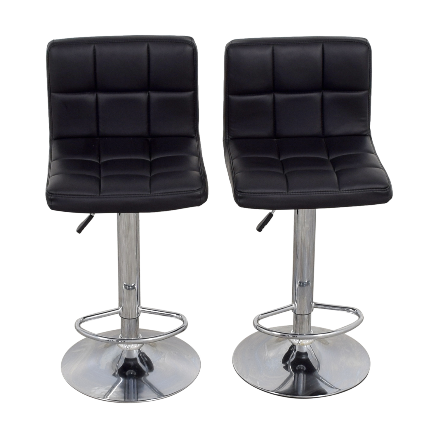 Homall Adjustable Swivel Black Bonded Leather Barstools / Chairs