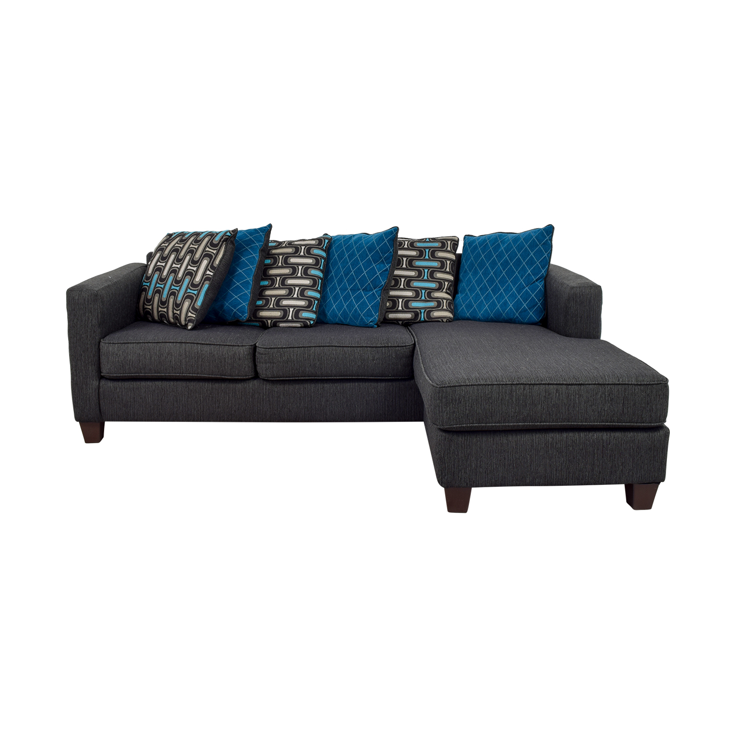Navy Chaise Sectional with Toss Pillows