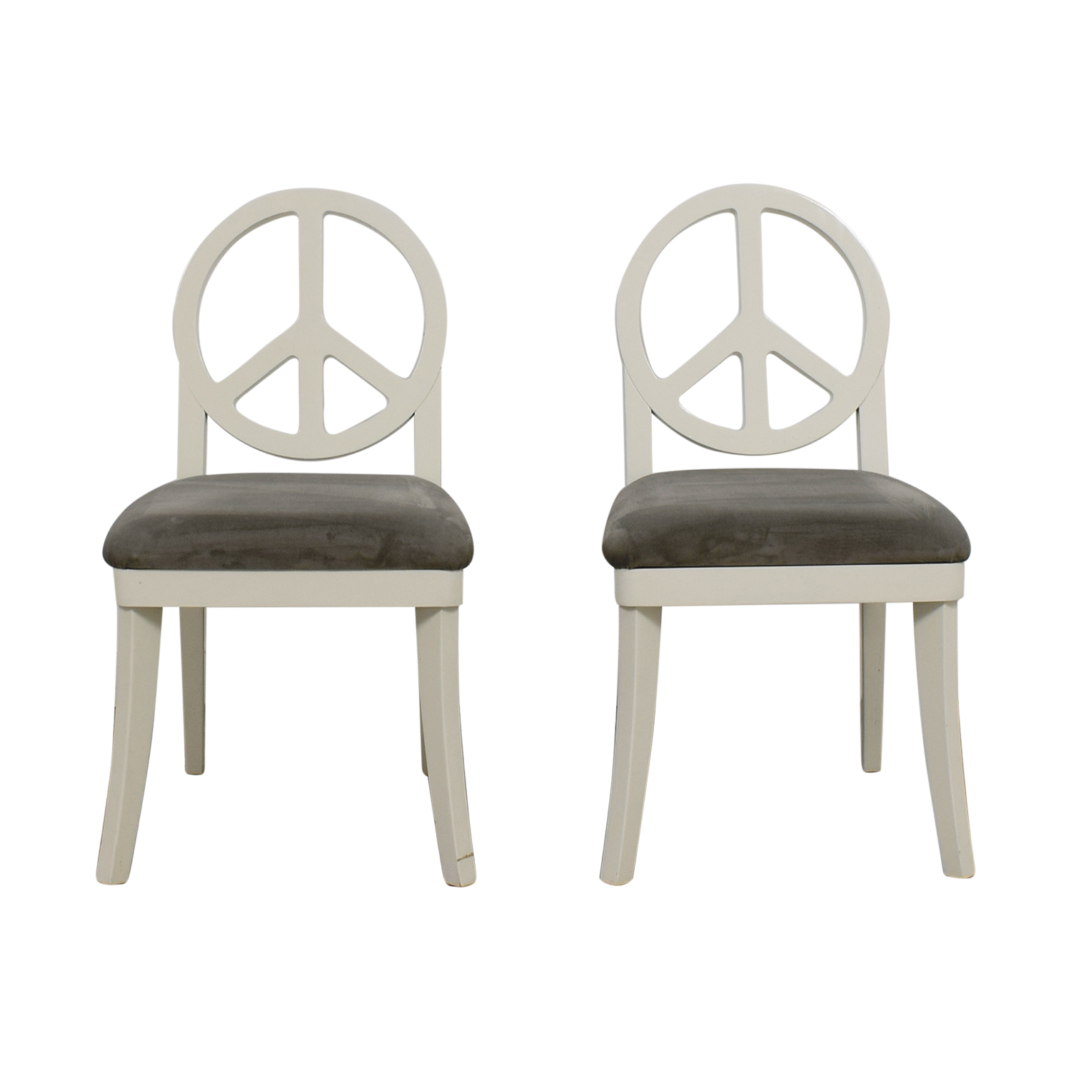 Happy Chic by Jonathan Adler Happy Chic by Jonathan Adler White and Grey Peace Sign Accent Chairs coupon