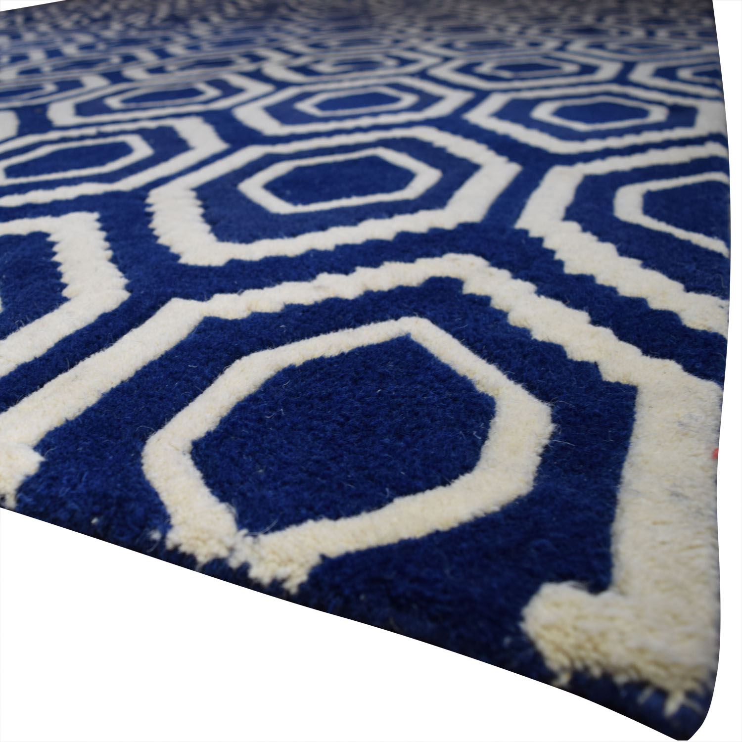 buy One Kings Lane One Kings Lane Blue and White Patterned Rug online