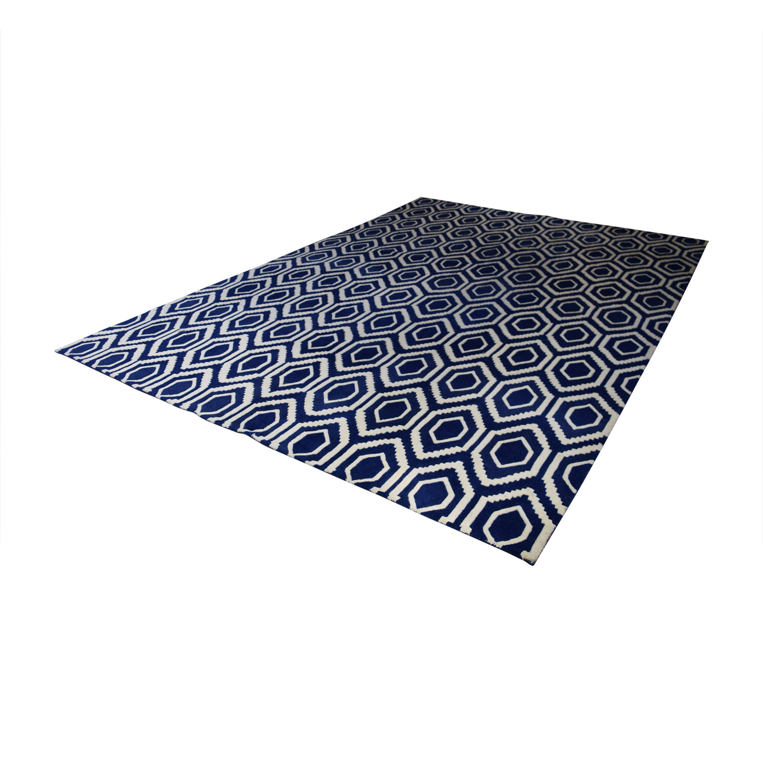 One Kings Lane One Kings Lane Blue and White Patterned Rug dimensions