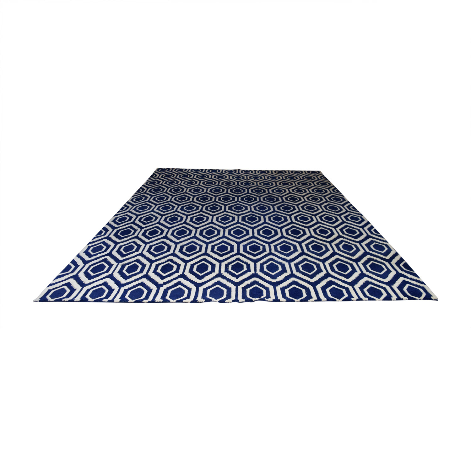 shop One Kings Lane Blue and White Patterned Rug One Kings Lane Decor