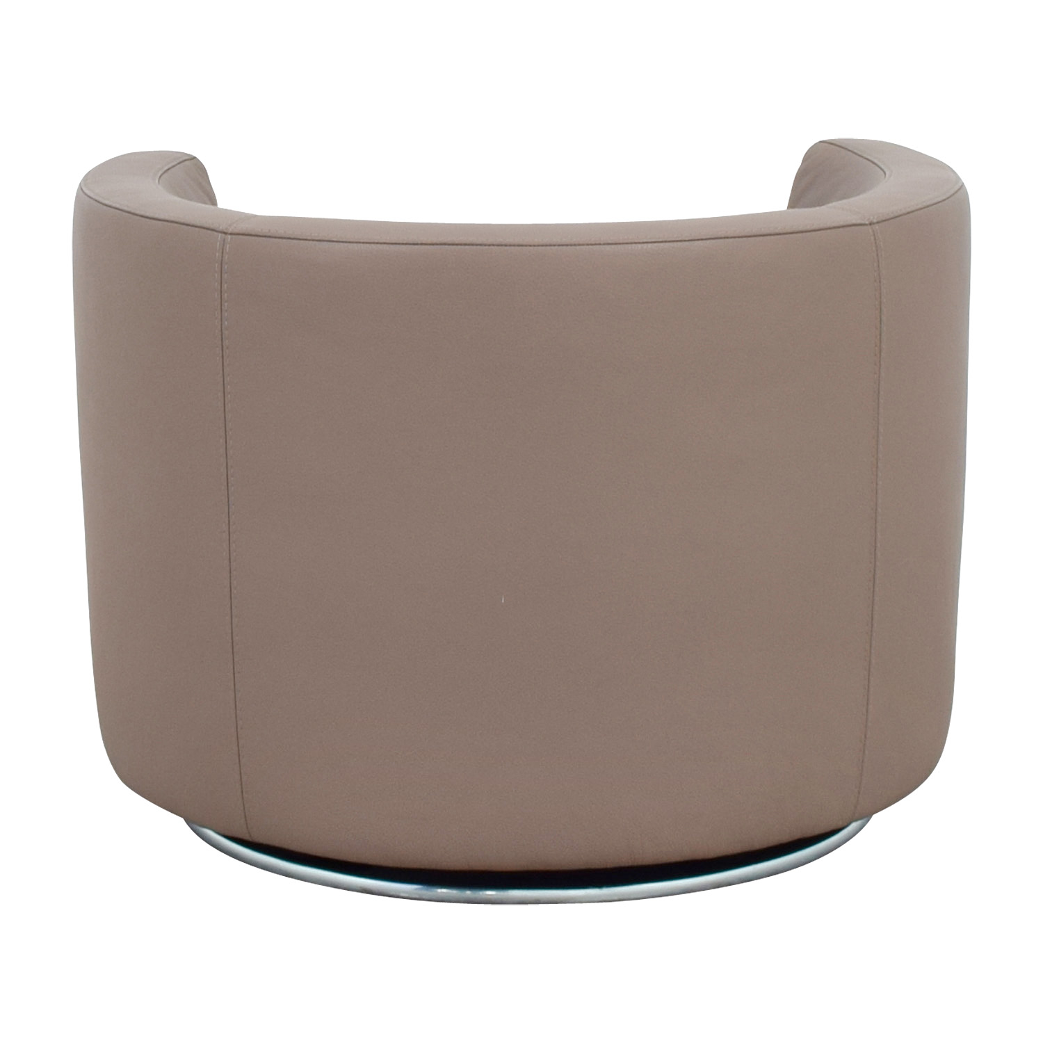 Roche Bobois Tan Leather Swivel Chair sale