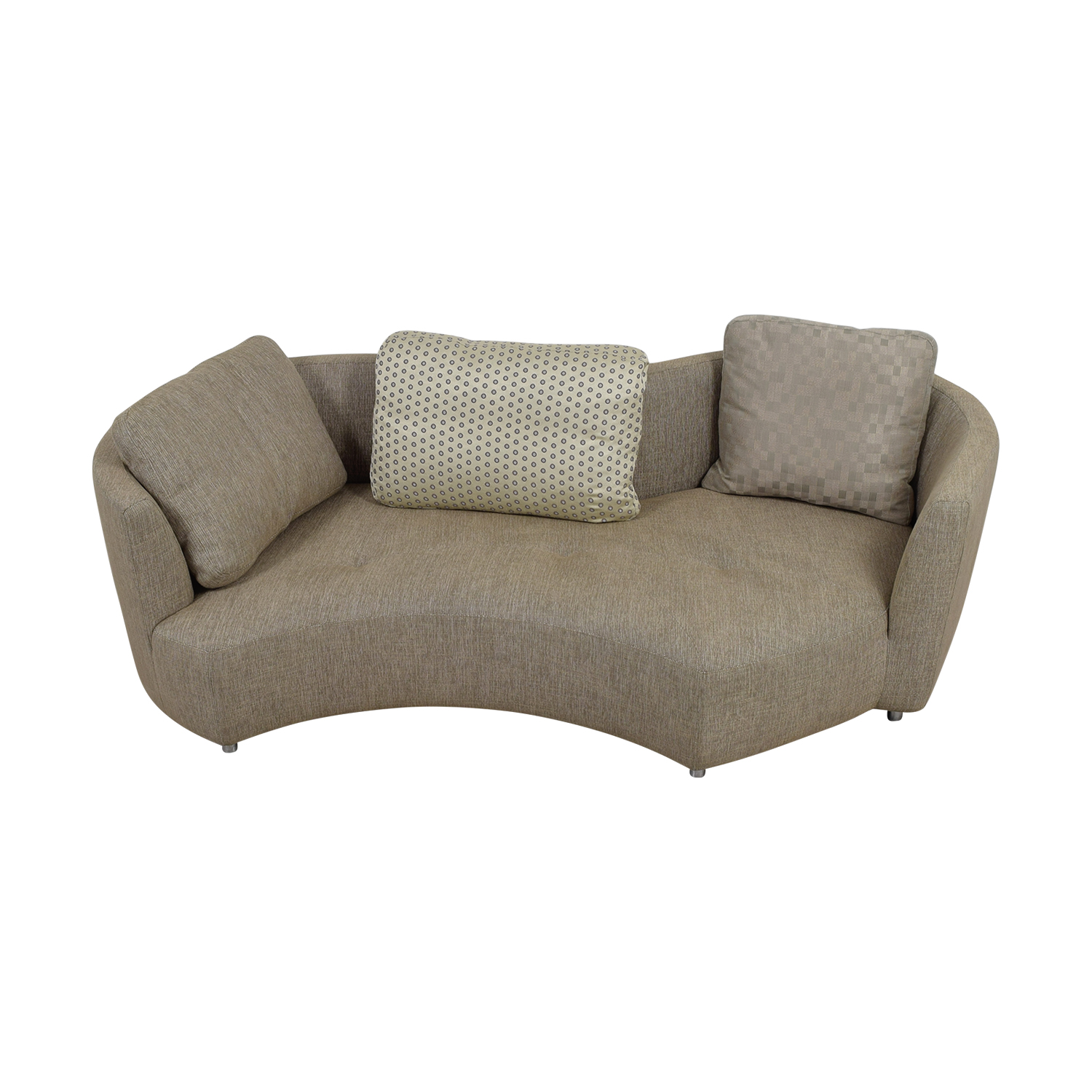 Roche Bobois Three Seater Tan Tweed Sofa Used