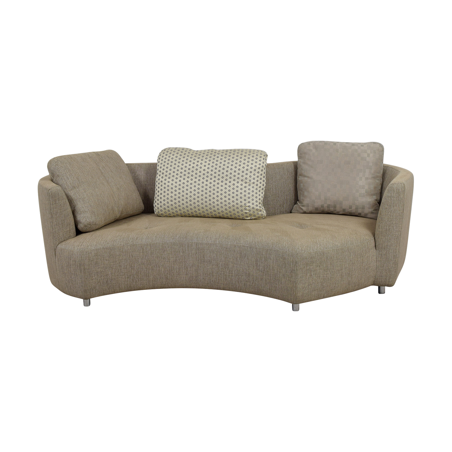 Roche Bobois Three-Seater Tan Tweed Sofa Roche Bobois