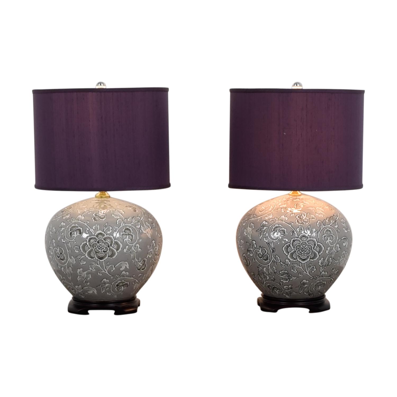 Safavieh Safavieh Grey Climbing Vine Vase Lamps with Purple Shades