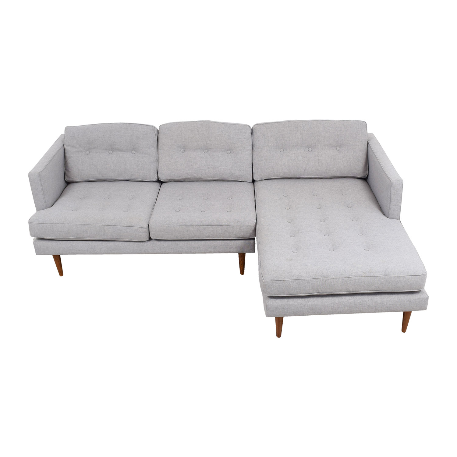 buy West Elm Grey Tufted Chaise Sectional West Elm Sofas