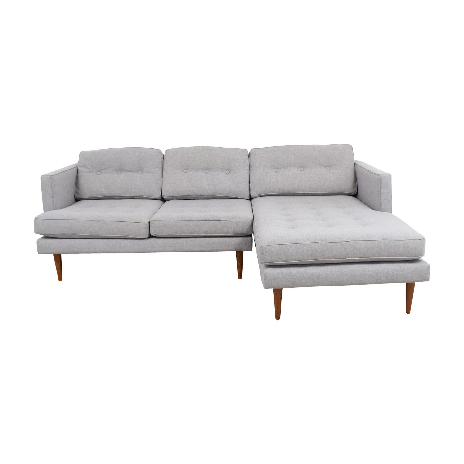 shop West Elm Grey Tufted Chaise Sectional West Elm Sectionals