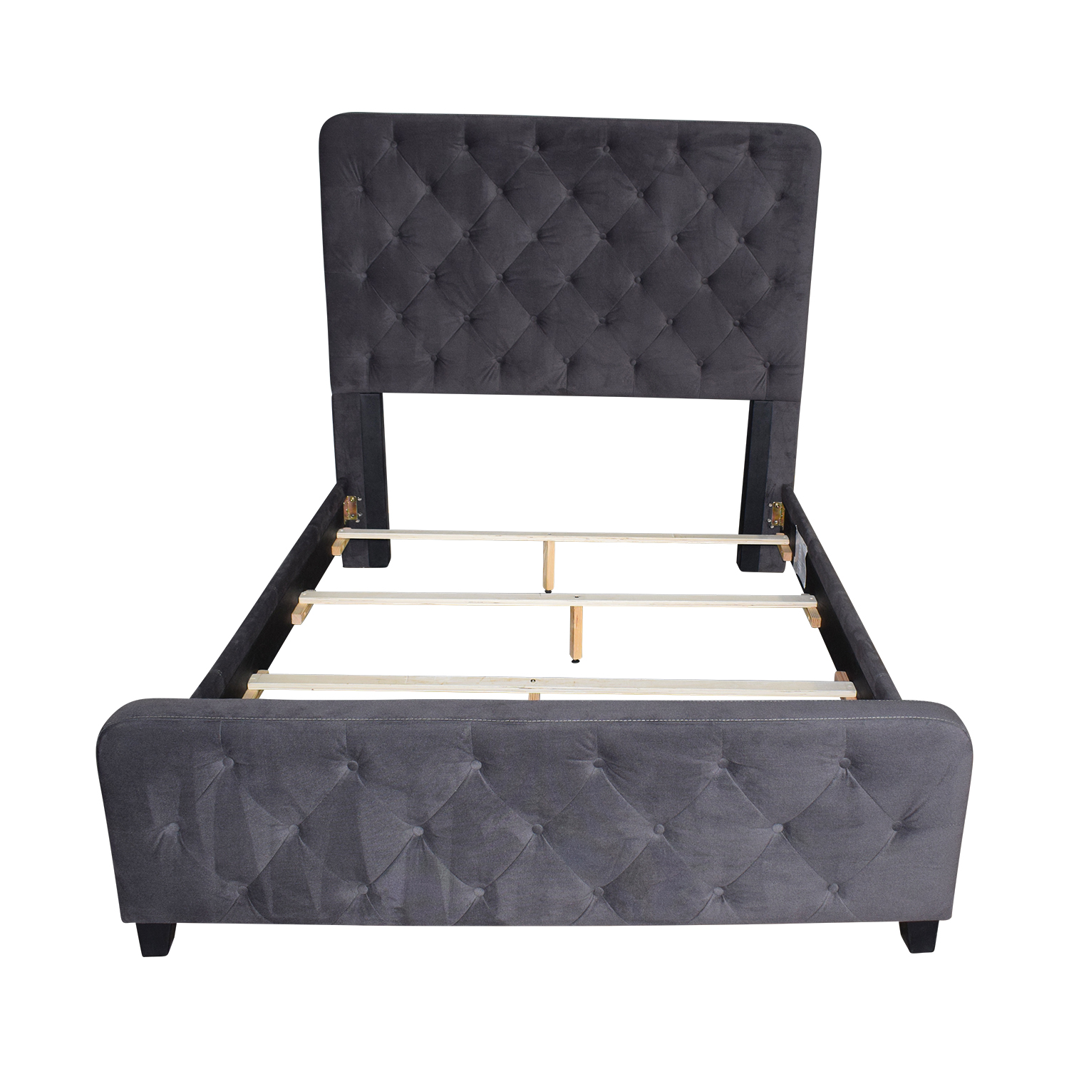 Raymour & Flanigan Raymour & Flanigan Dark Grey Tufted Queen Bed Frame coupon