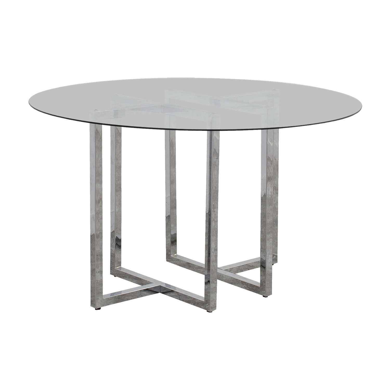 CB2 CB2 Silverado Round Chrome and Glass Table price