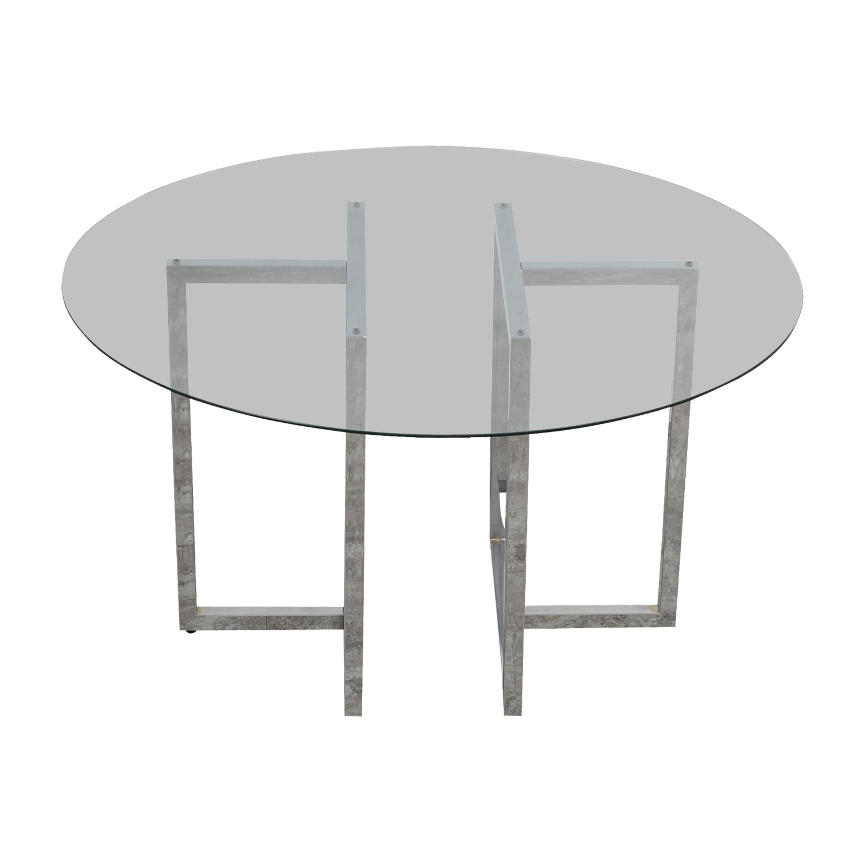 CB2 Silverado Round Chrome and Glass Table / Dinner Tables
