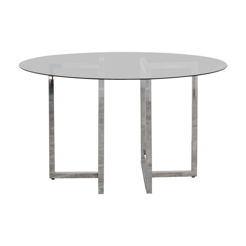 CB2 CB2 Silverado Round Chrome and Glass Table used