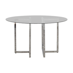 CB2 CB2 Silverado Round Chrome and Glass Table dimensions