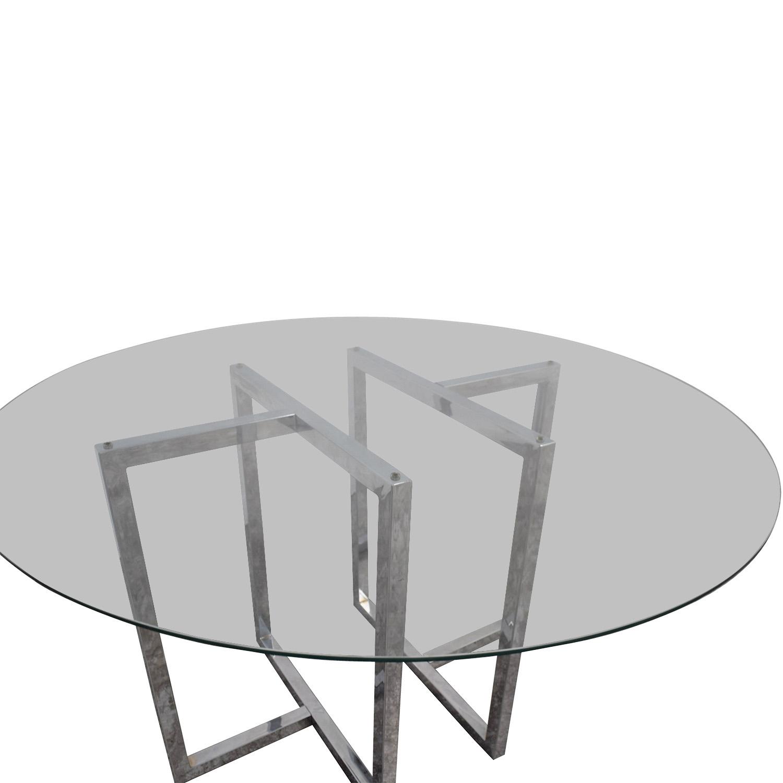 shop CB2 Silverado Round Chrome and Glass Table CB2 Dinner Tables