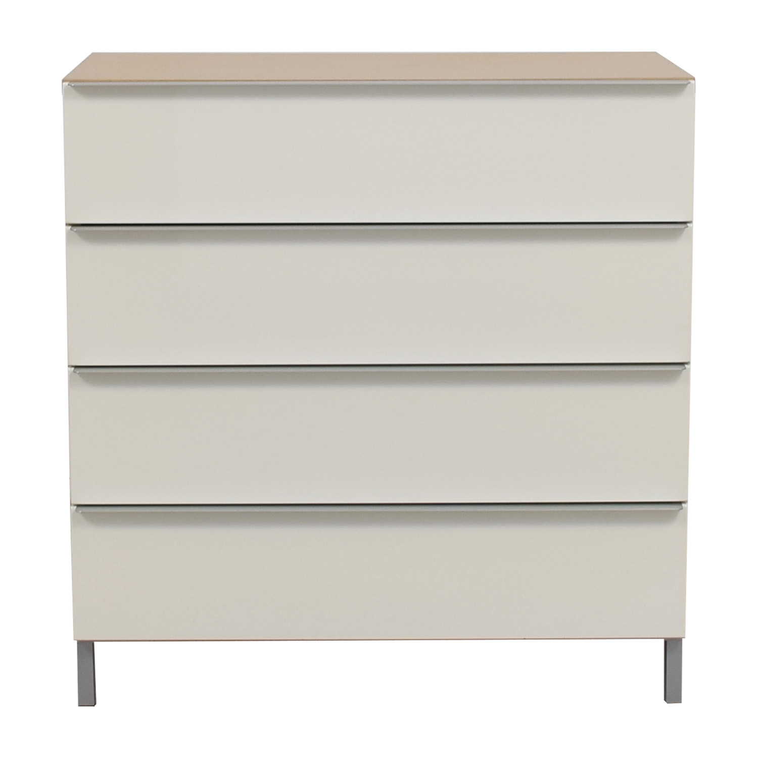 White and Tan Four-Drawer Chest of Drawers used