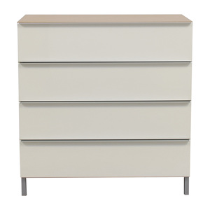 White and Tan Four-Drawer Chest of Drawers