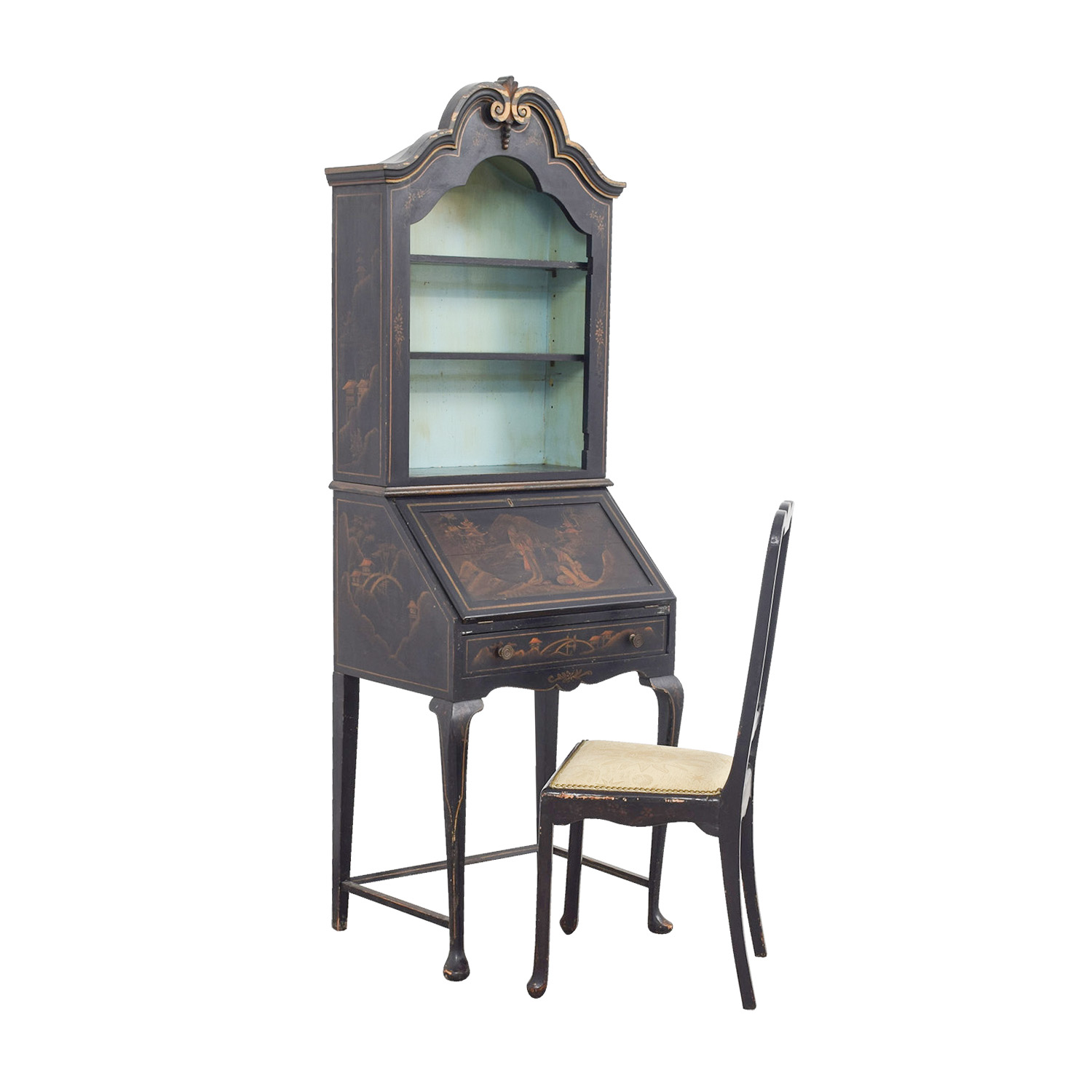 buy Antique Chinoiserie Secretary Desk with Chair