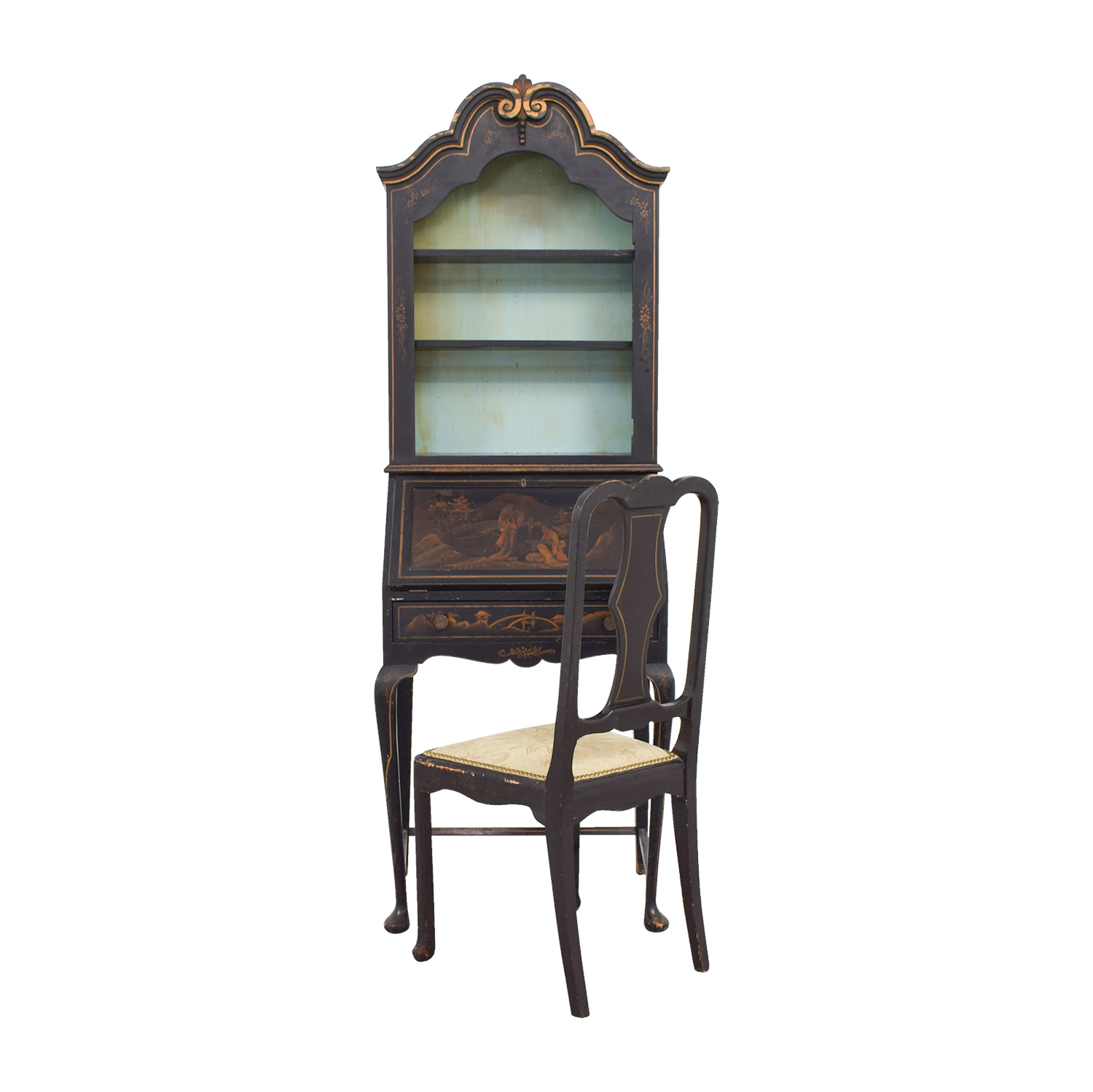 buy Antique Chinoiserie Secretary Desk with Chair Cabinets & Sideboards