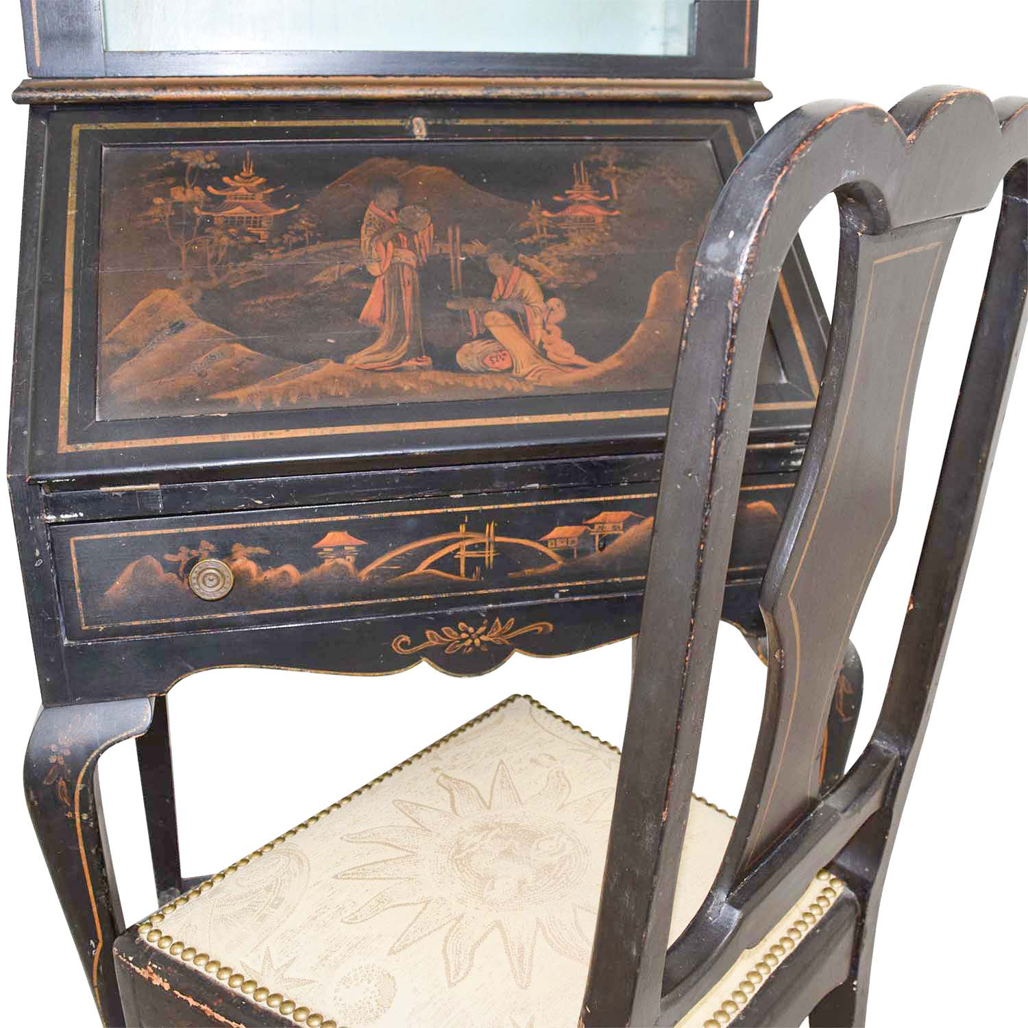 Brand-new 71% OFF - Antique Chinoiserie Secretary Desk with Chair / Storage HS06
