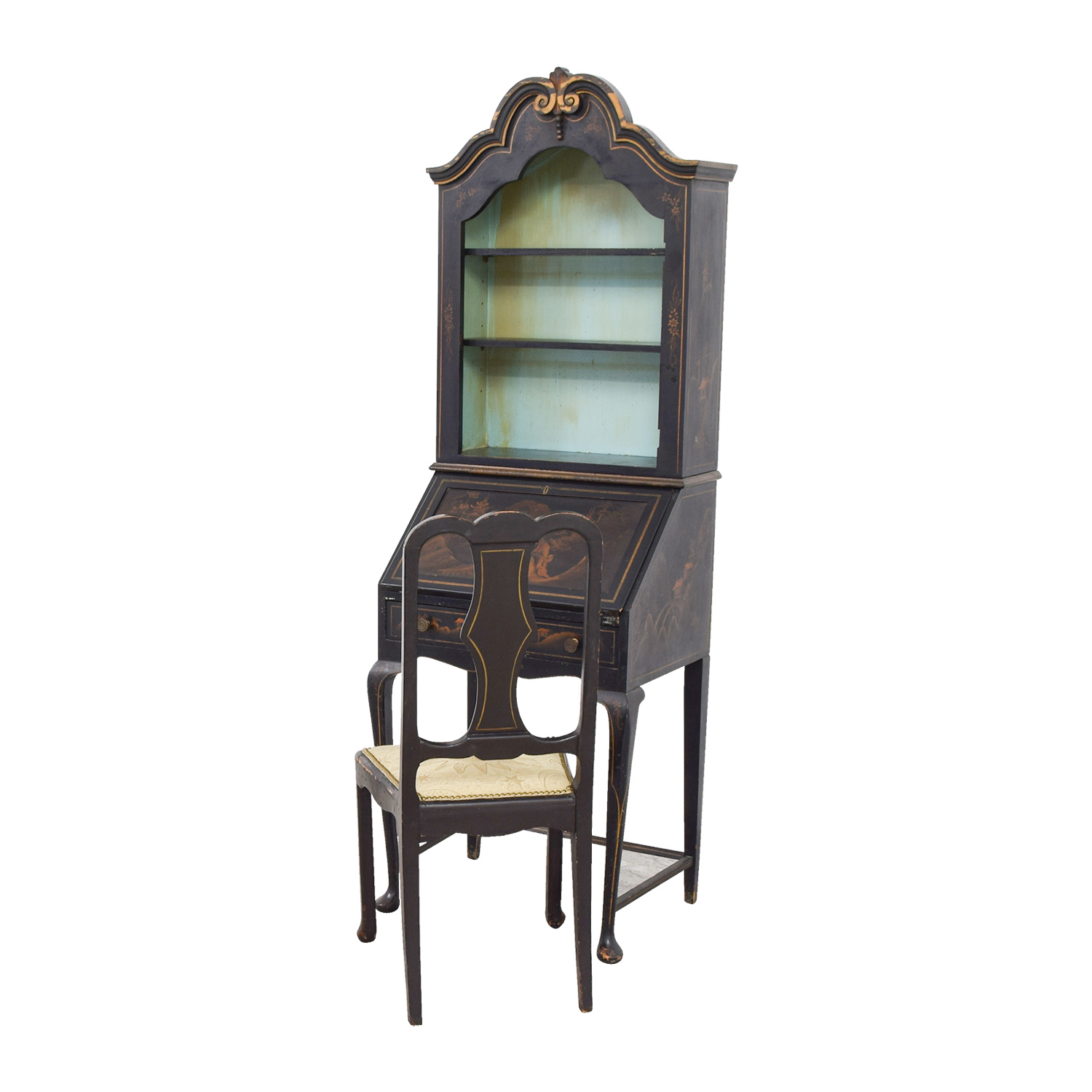 Greatest 71% OFF - Antique Chinoiserie Secretary Desk with Chair / Storage CI37
