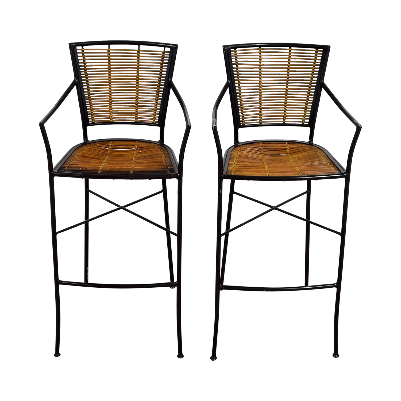 buy Bamboo and Metal Bar Stools Chairs