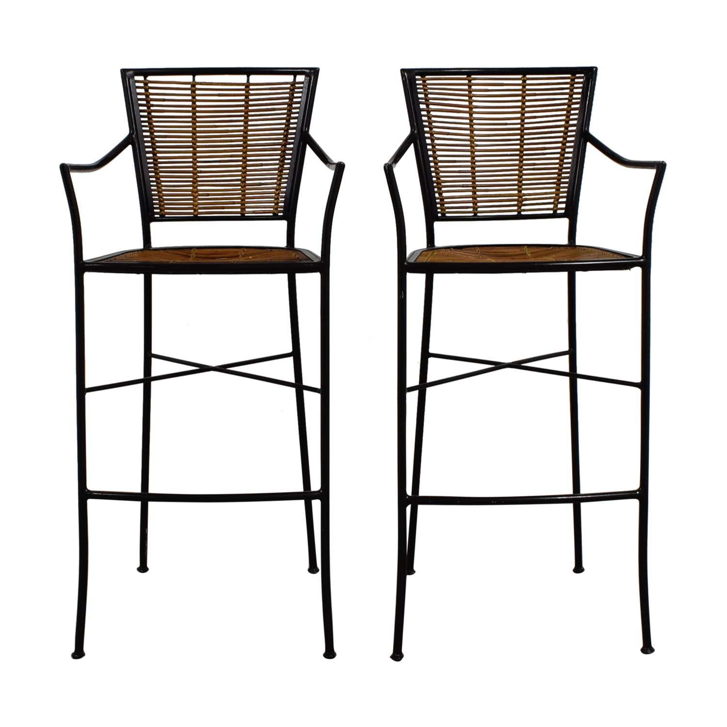 Bamboo and Metal Bar Stools Stools