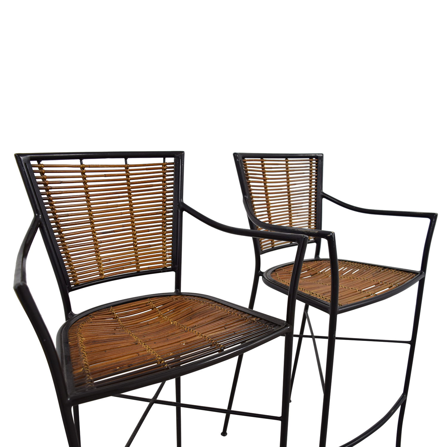 90 Off Bamboo And Metal Bar Stools Chairs