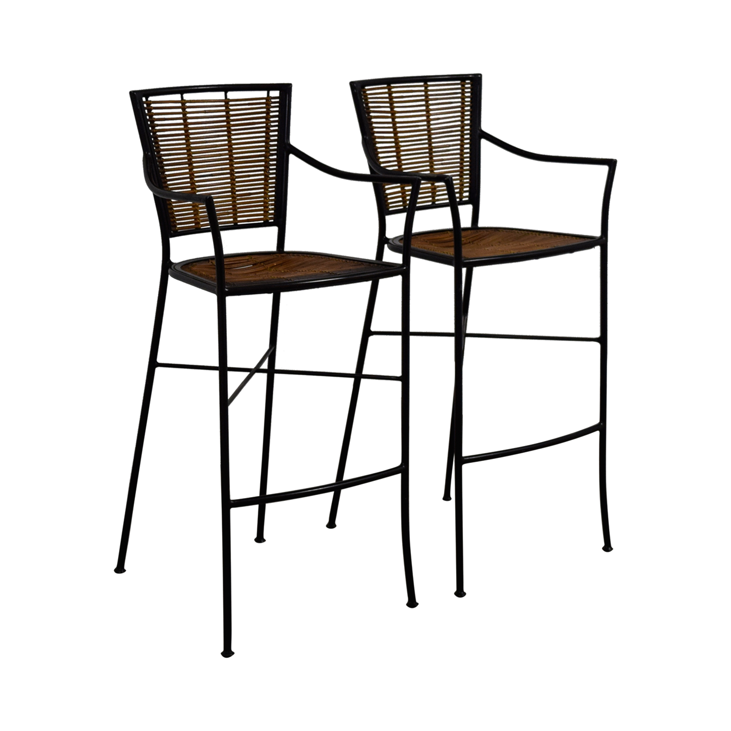 80 Off Bamboo And Metal Bar Stools Chairs