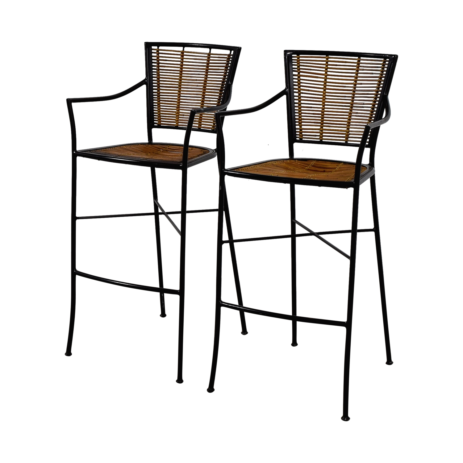 65 Off Bamboo And Metal Bar Stools Chairs