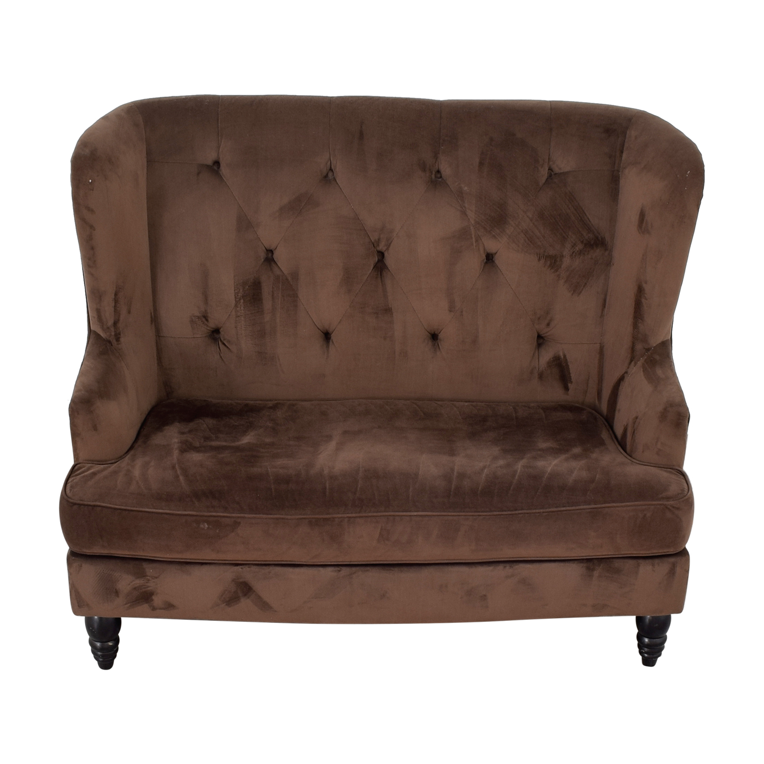 buy CB2 Brown Tufted High Back Loveseat CB2 Loveseats