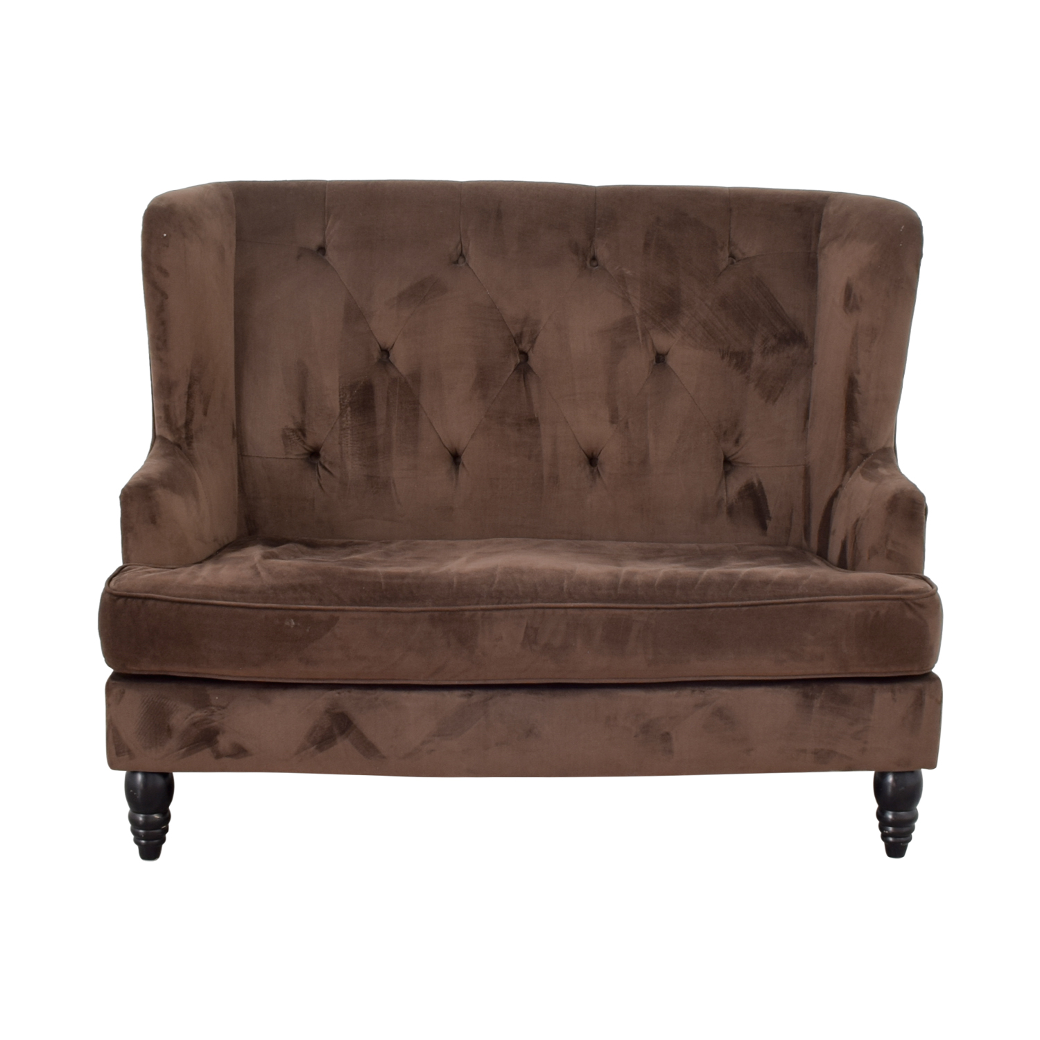 CB2 Brown Tufted High Back Loveseat CB2