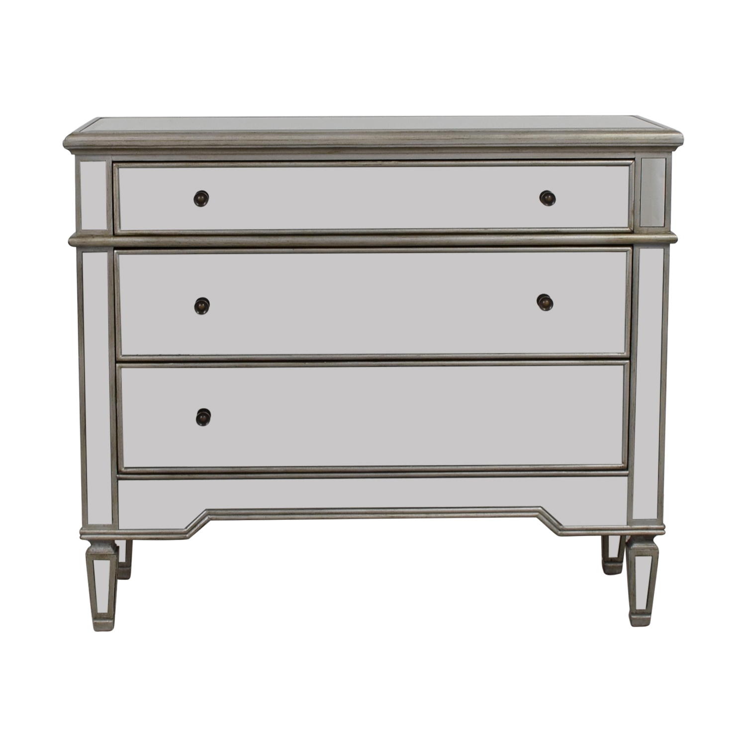 Pier 1 Imports Silver Mirrored Three-Drawer Dresser / Dressers