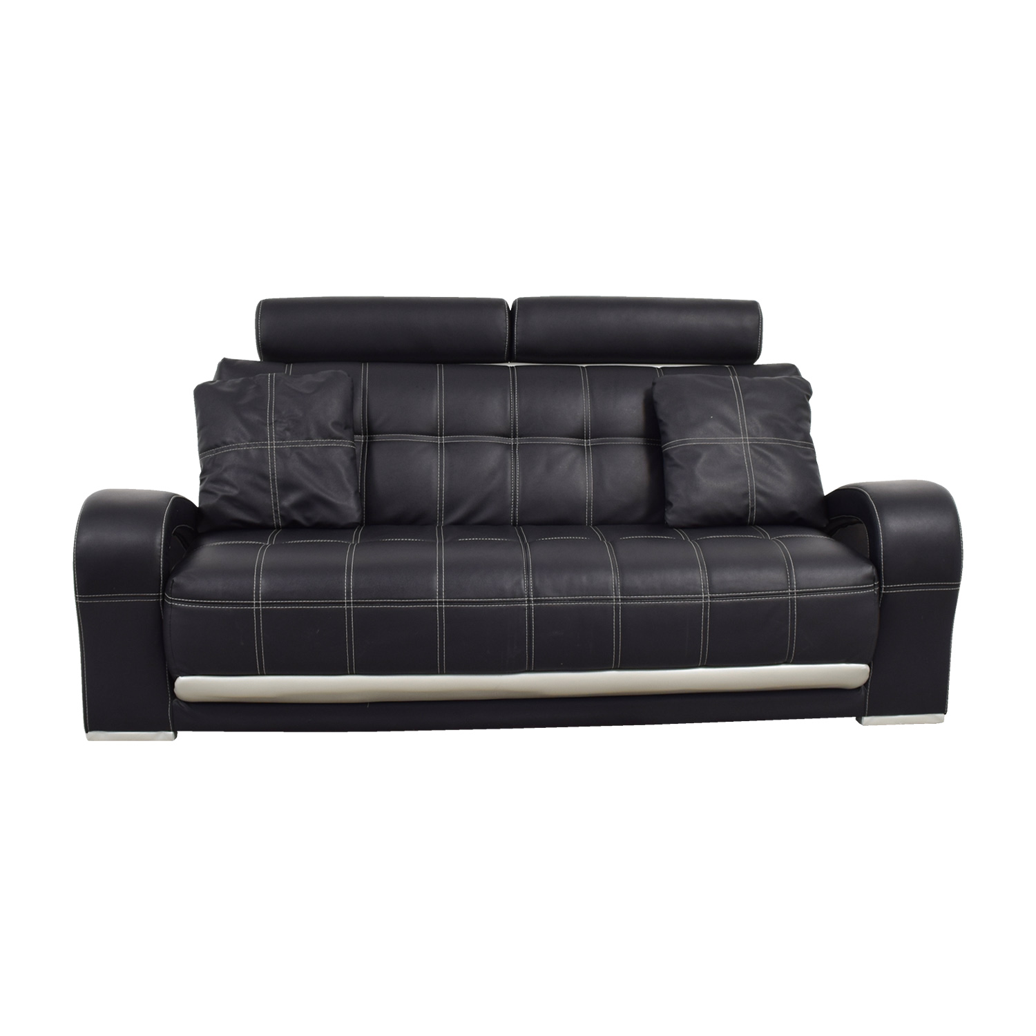 52 off black leather sofa with pillows sofas for Best pillows for leather couch