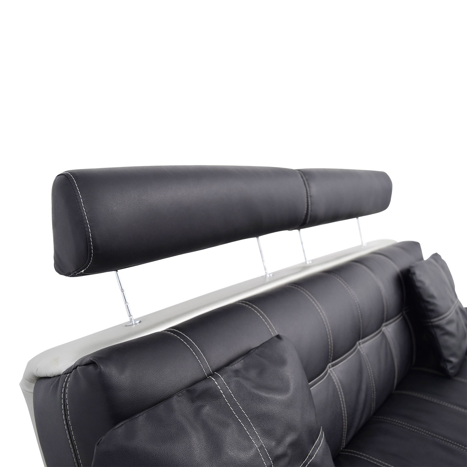 OFF Black Leather Sofa with Pillows Sofas