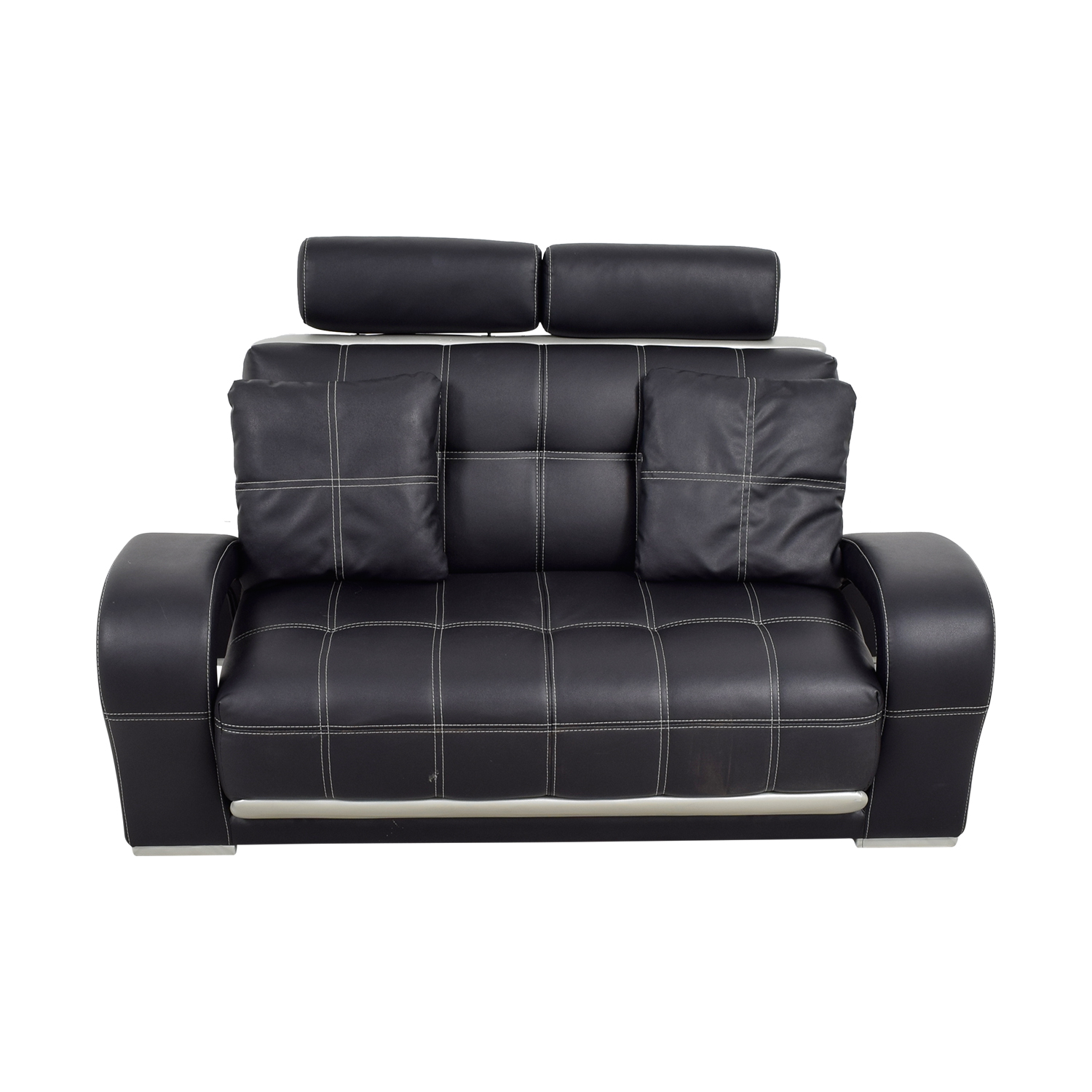 Black Leather Love Seat with Pillows nyc