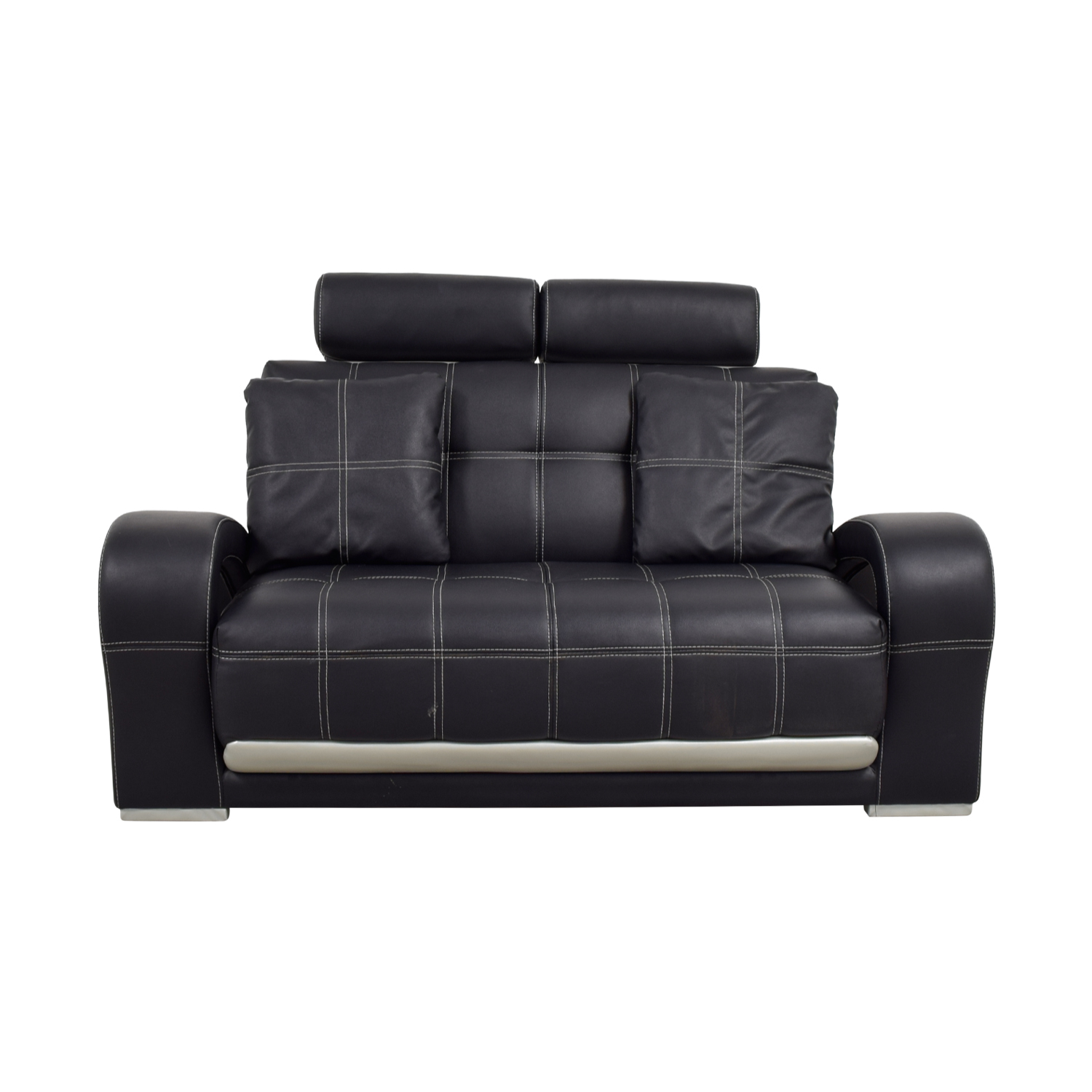 Black Leather Love Seat with Pillows sale