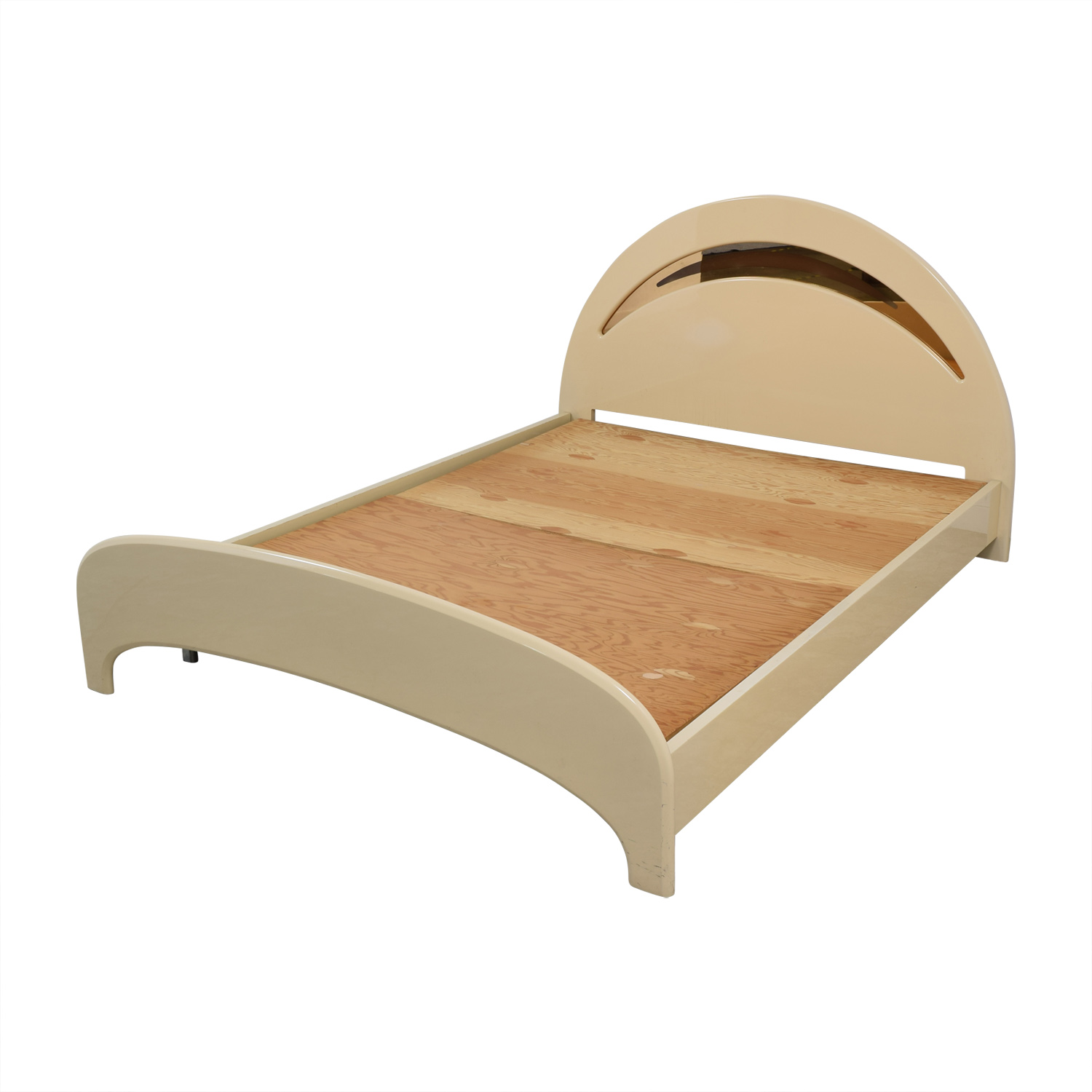 Art Deco Tan Queen Bed Bed Frames